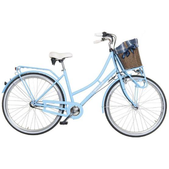 """Dámské retro kolo Cossack Genua 18,5""""/3r, světle modré Dámské městské kolo v retro stylu Cossack Genua s 3 rychlostním řazením a lehkým hliníkovým rámem bylo navrženo pro eleganci i pro Váš komfort. Konstrukce tohoto kola byla vytvořena pro snadný pohyb ve městě.  Nechybí ani pevný přední a zadní nosič. O Váš komfort se postará velké pohodlné sedlo, které doladí Váš požitek z jízdy. Za nepříznivého počasí Vás ochrání přední a zadní blatník, spolu s účinným krytem řetězu. Bezpečnou projížďku…"""