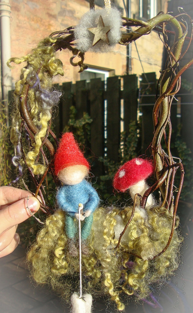 Waldorf Mobile - little gnome fishing- Plant Dyed - Organic  - needle felted - Found for sale in an Etsy Shop.. so cute