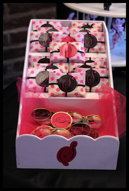 Candy favors at a pink and black girl birthday party!  See more party ideas at CatchMyParty.com!