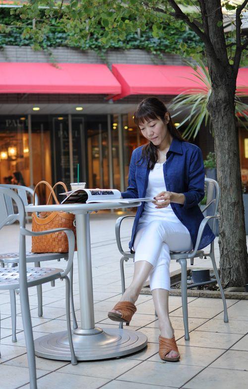 オジエ・レディース・ネイビー(紺)麻シャツ #ladies shirts  #white shirts #ladies fashion #ladies linen shirts