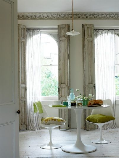 windows: Modern Furniture, Breakfast Rooms, Window Shutters, Window Curtains, Window Shades, Tulip Tables, White Rooms, Window Treatments, Dining Tables
