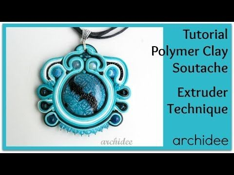 ▶ Polymer Clay Soutache Tutorial | Extruder Technique Pendant - YouTube