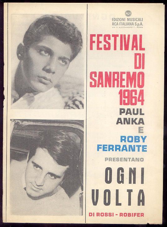 """Paul Anka + Roby Ferrante """"Ogni Volta"""" (spartito) Sanremo 1964"""