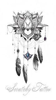 scratchy.tattoo: Mandala Mond – Traumfänger – Blütenschleife