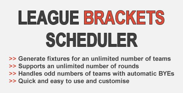 Generate brackets schedules for leagues and round robin tournaments. Supports unlimited numbers of...