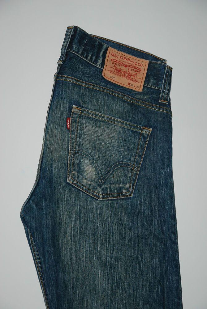 Based UK Levis 506 Standard Mens Straight Leg Jeans Faded Blue W 34 L 31 Zip Fly