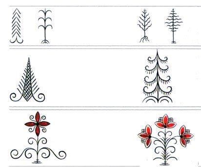 Mezenskaya Folk Art Style trees, from Mezen river valley, Russia. Мезенская роспись