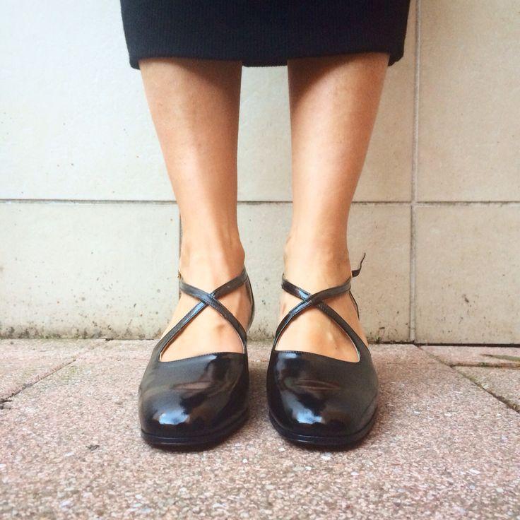 Black leather shoes, 37 VTG