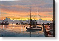 Sunset-North Dock At Pelee Island   Canvas Print by Paul Krapf