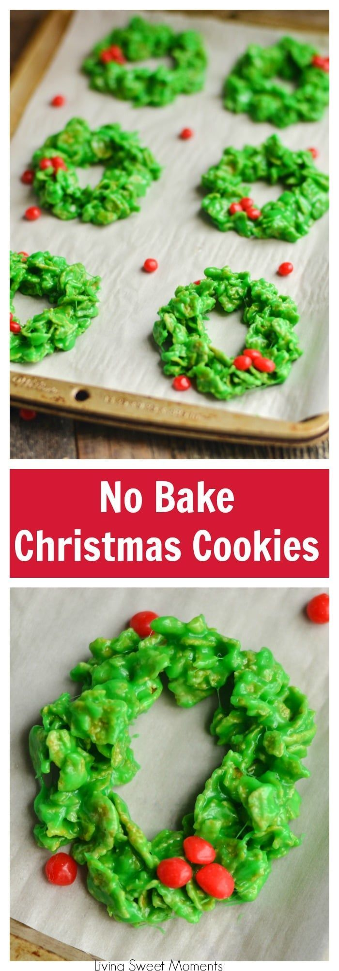 These easy and delicious Christmas Wreath Cookies require no baking & few ingredients. Perfect to make with kids. Give them out as gifts or for dessert. More Christmas cookie recipes at livingsweetmoments.com  via @Livingsmoments  #christmascookies #nobakecookies