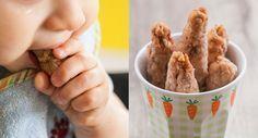 Einfaches Rezept für Knabberstangen bzw. Babykekse ohne Zucker, die nur aus Dinkelmehl, Öl und Obst bestehen. Ab dem 6. Monat geeignet.