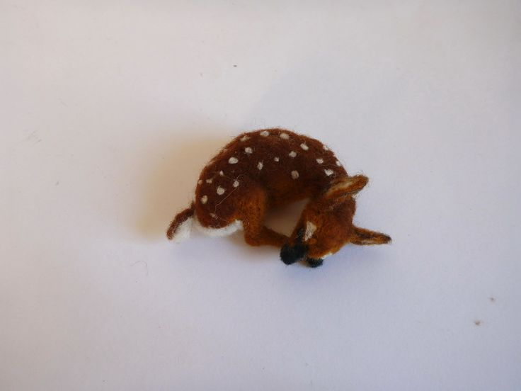 Needlefelted fawn  https://www.etsy.com/listing/493737277/needle-felted-sleeping-fawn-animal?ref=shop_home_active_6 #needlefelted #needlefelted fawn #fawn #Christmas