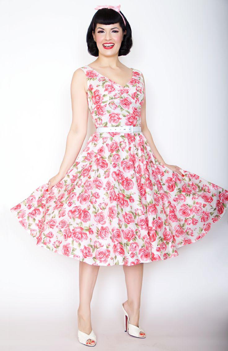 Bernie Dexter Pin Up Dress Saturday Night in Pink Rose print. http ...