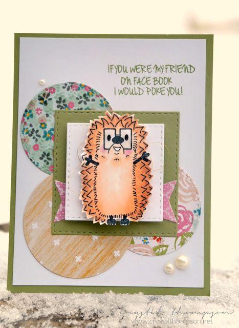 Adorable Hedgehog card! Love nerd glasses!