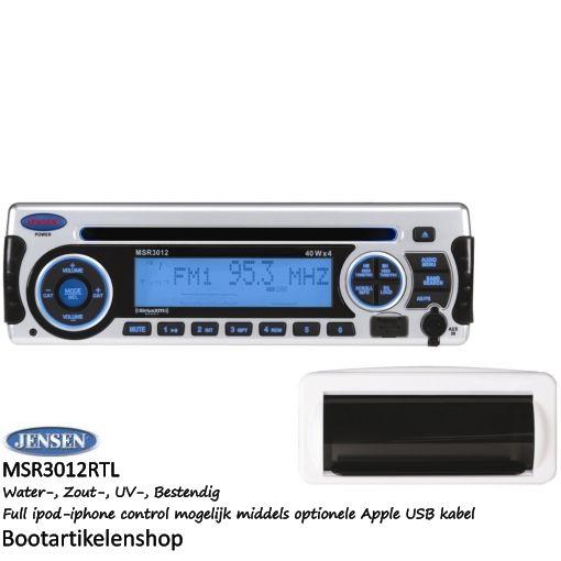 Jensen Marine MSR3012RTL boot radio. AUX/USB/CD (mp3, mp4, wma) Full ipod- iphone control mogelijk, zie omschrijving.