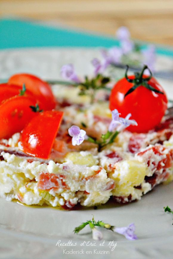 Dégustation tartare facile - Tartare pomme pata negra et brousse chez Kaderick en Kuizinn