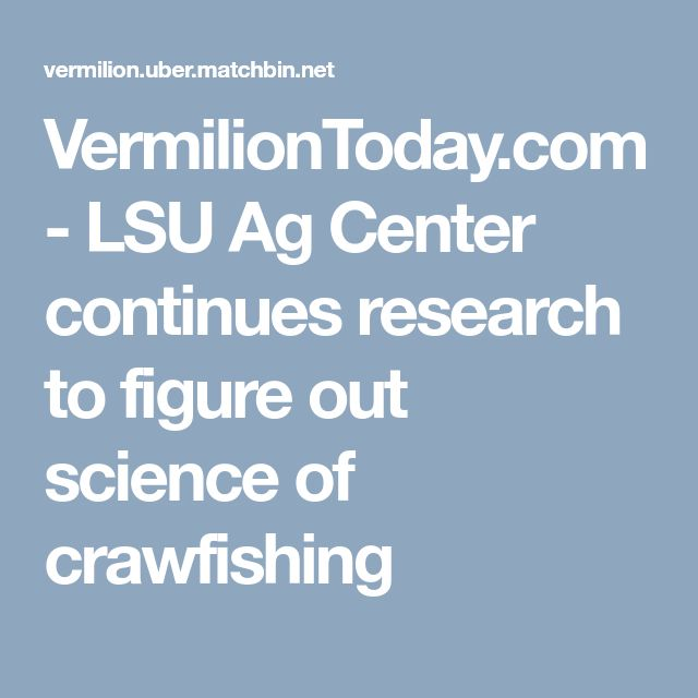 VermilionToday.com - LSU Ag Center continues research to figure out science of crawfishing