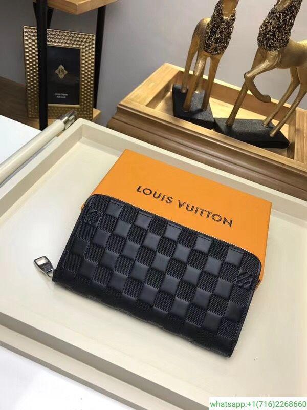 huge selection of 550fc f64c9 Louis VuitTON BLACK LEATHER Damier Ebene Zippy Zippered ...