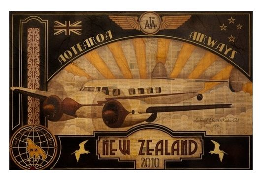 'Aotearoa Airways' by Sandy Rodgers - matted giclee print