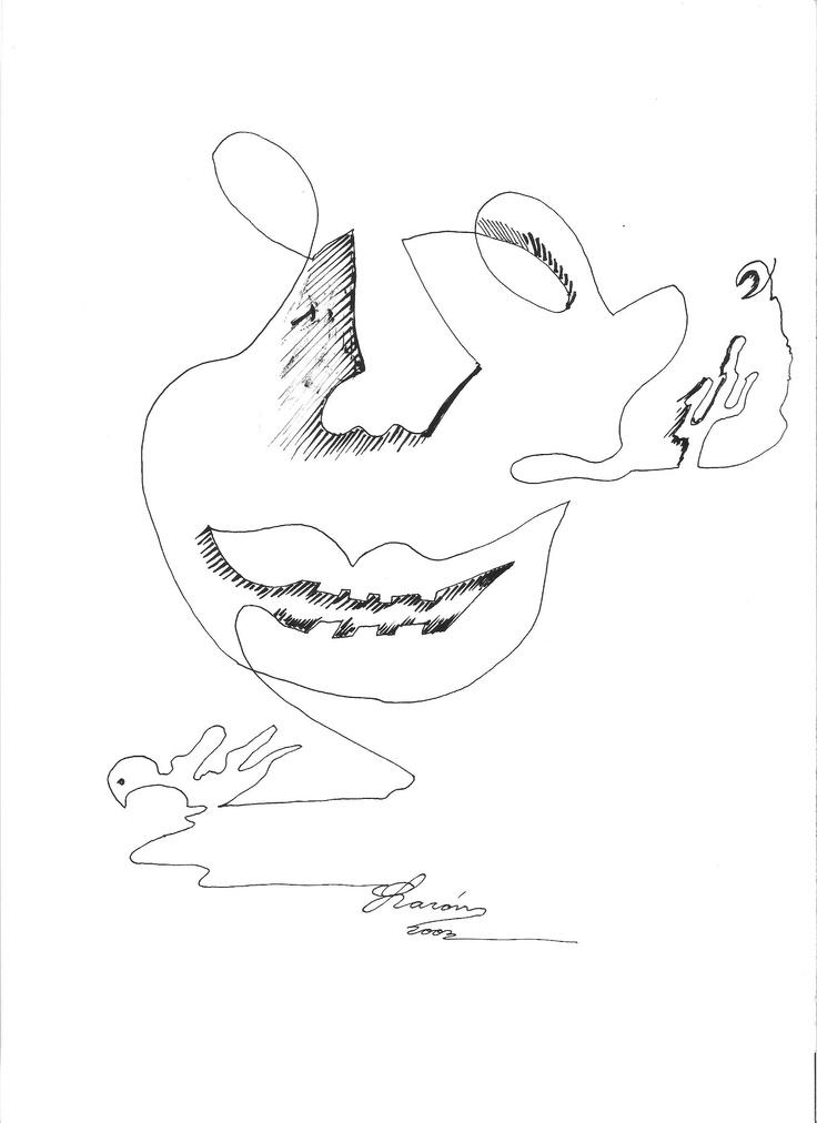Técnica: Plumilla, Titulo: La Guajira en un hilo, Autor: Sabor Guajiro, Dimensiones: 21.5cm X 27.7cm, Año: 2003.   Comentario: sonriente La Guajira ante la adversidad, muestra una cara amable ante luz u oscuridad, Noble Guajira, amada y soñada, del Cardón a la Mar, del sol que vuela tal pajaro flameante sobre el mar  a la Luna que adorna el yotojoro, y ante su luz párese ser de oro