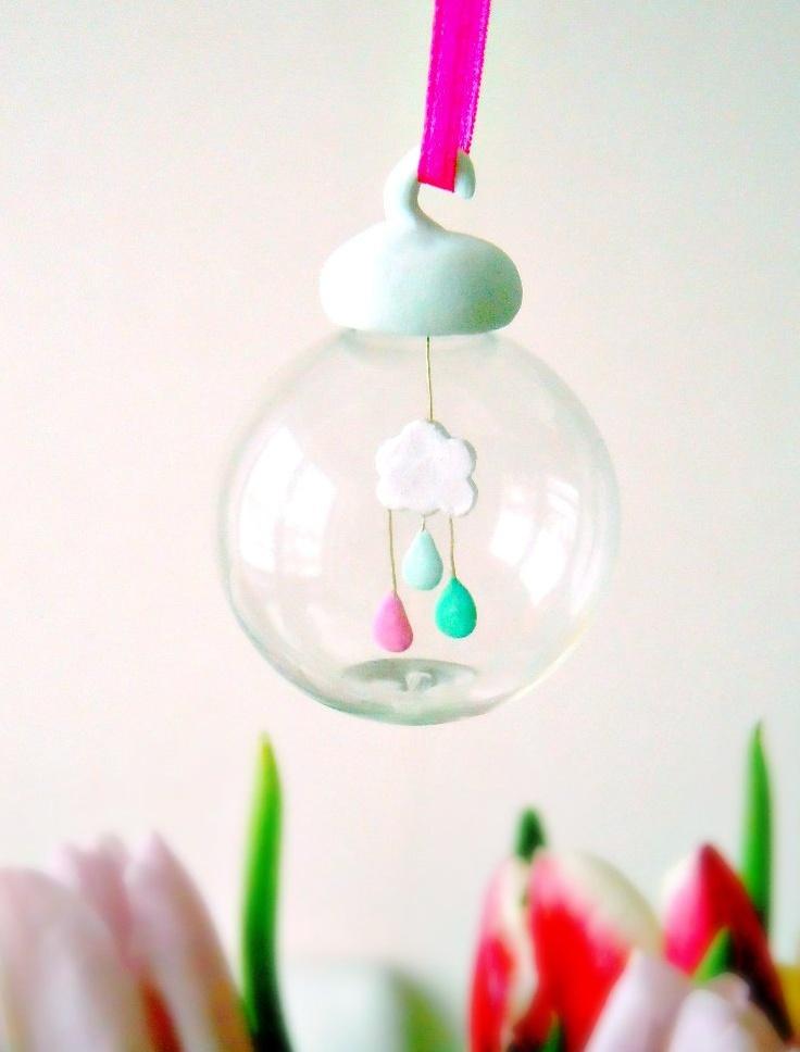 OOAK spring bubble ornament - Le petit nuage - The little cloud by Etsy seller MijbilCreatures