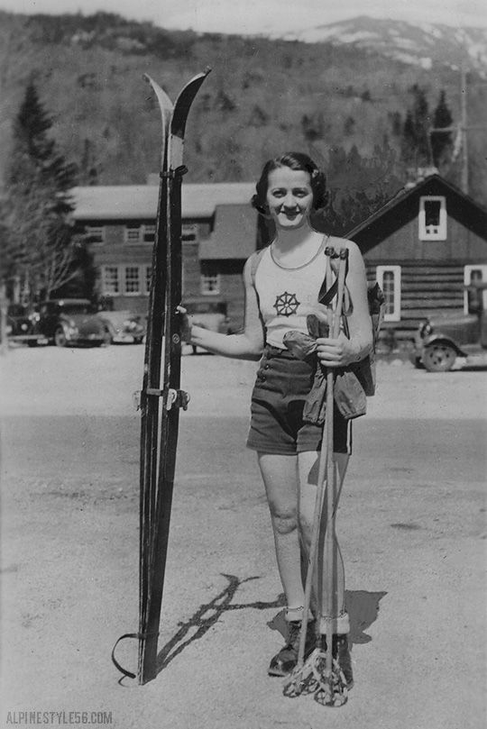 Vintage summer skiing in shorts and a cute tank.