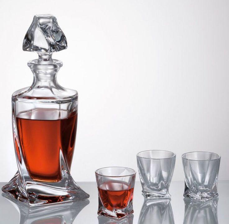 Liquer set, Bourbon decanter, whisky, whisky gift set,  bourbon gifts, whisky glasses, French brandy, bourbon glasses, bourbon bottles,  by CzechGlassArt on Etsy https://www.etsy.com/listing/264944877/liquer-set-bourbon-decanter-whisky