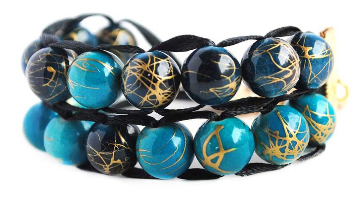 Ablet Knitting Abacus Row Counter Bracelet, 2-tier (Blue and Teal)