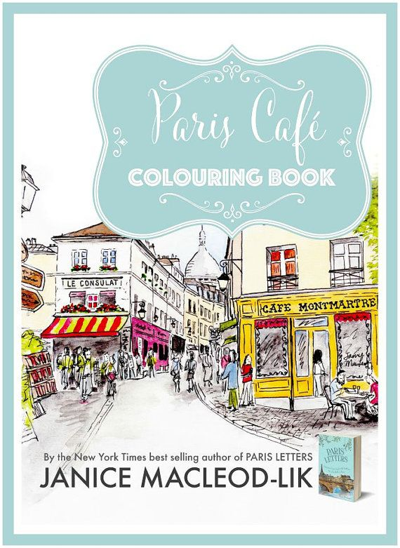 Digital Colouring Book Paris Cafe Instant By JaniceMacLeodStudio