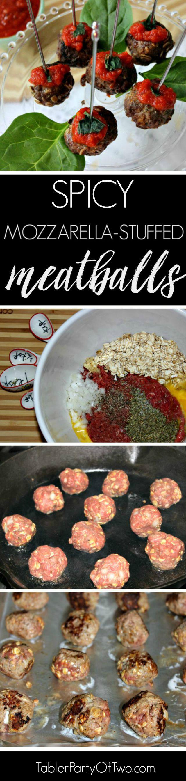 Mozzarella Stuffed Marinara Meatballs. Super yummy and even skinny! TablerPartyofTwo.com