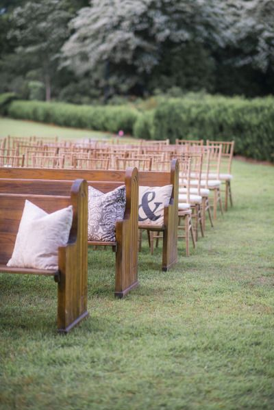 Wedding benches and pillows: http://www.stylemepretty.com/south-carolina-weddings/2015/01/22/rustic-charleston-wedding/ | Photography: Timwill - http://www.timwill.com/