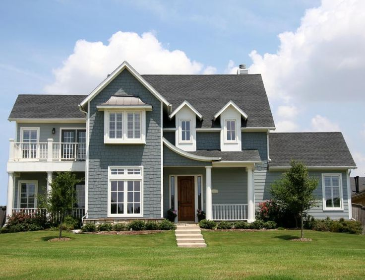 Exterior house paint light grey white trim red door - Exterior trim painting tips image ...