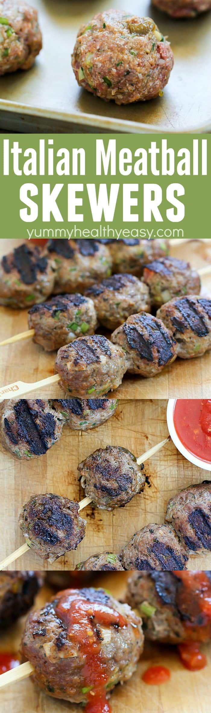These flavorful Italian Meatballs are skewered onto sticks and grilled. This versatile dinner can be dipped in pasta sauce for a delicious low carb dinner, served on rolls for meatball sandwiches or over spaghetti! Definitely a family pleasing dinner! AD