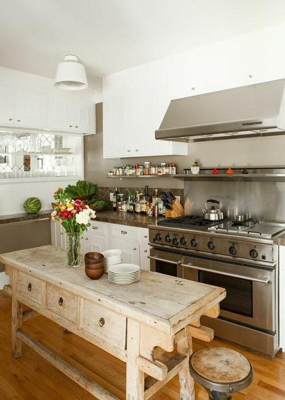 kid-friendly kitchen design, love the found piece for the island