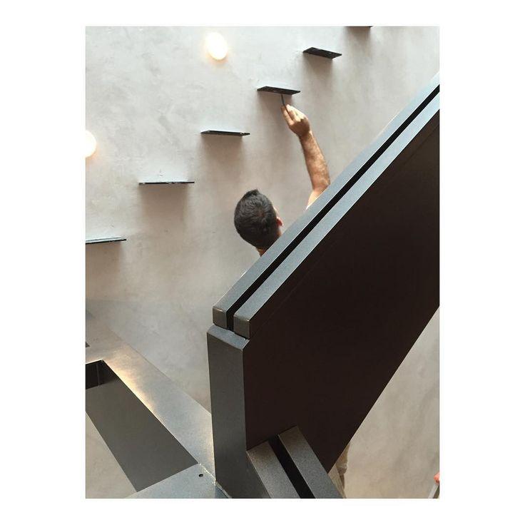 Detailing steel. #tbt #marlboroughtailor #backbay #steel #detail #highend #renovation #stairporn #stair #weld #glass #venetian #plaster #passivehouse #architecture #interiordesign #design #condo #home #boston