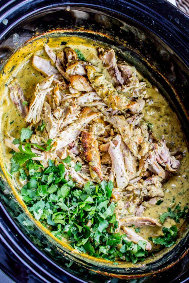 Whole 30 Slow Cooker Basil Chicken in Coconut Curry Sauce.