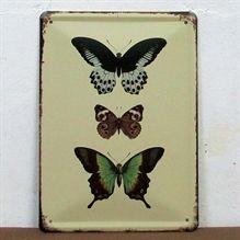 Emaljeskilt Tre sommerfugle - NiceWall.dk