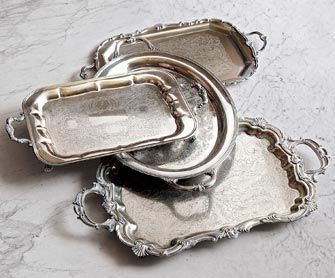 Vintage Silver Butler Trays    Nonna's favorite sherry. Aunt Mary's panettone cake. What better trays to serve rich holiday traditions than these incredible antique silver butler trays? The ornate, bygone-era detailing is worthy of fine-art wall hanging. Dating back to the 1920s, they were collected from antique markets across America.