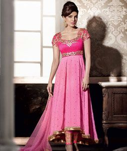Buy Priyanka Chopra Pink Georgette Designer Anarkali Suit 69461 online at lowest price from huge collection of salwar kameez at Indianclothstore.com.