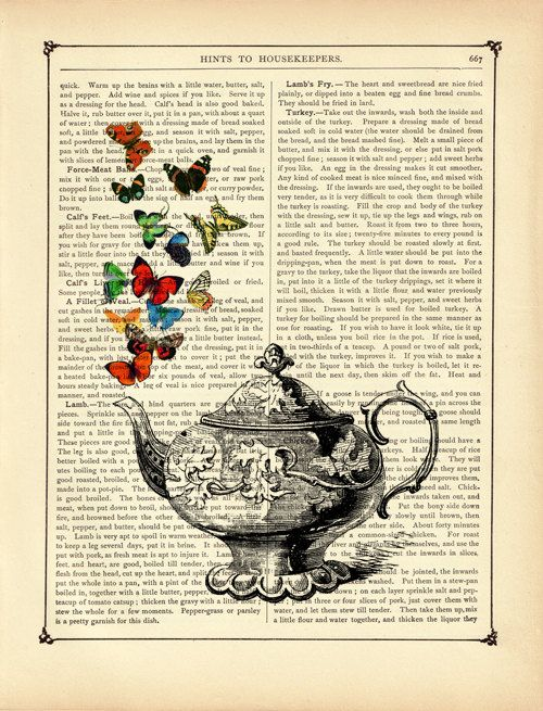 teapot butterflies butterfly vintage victorian book page art print steampunk - Book Pages Art