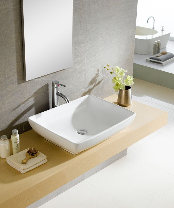 Vitreous China Oblong White Vessel Sink   Overstock™ Shopping   Great Deals  On Bathroom Sinks