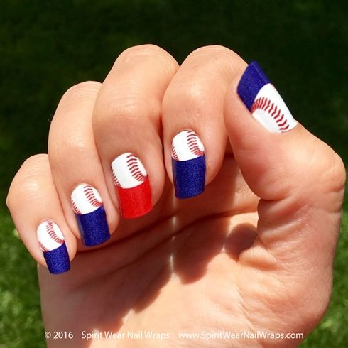 MLB+Baseball+Manicure+by+SpiritWearNails+-+Nail+Art+Gallery - 25+ Beautiful Baseball Nail Designs Ideas On Pinterest Softball