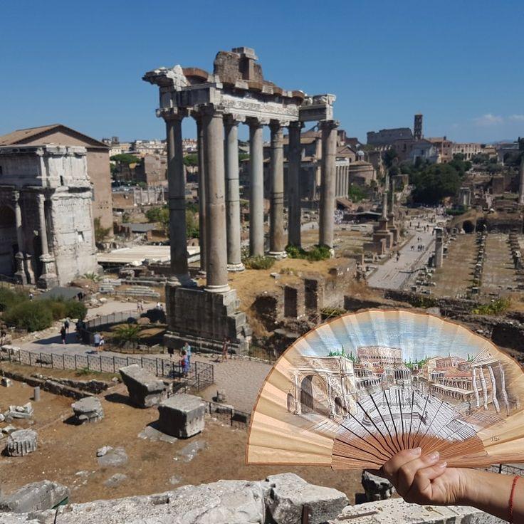 Foro Romano abanico pintado a mano