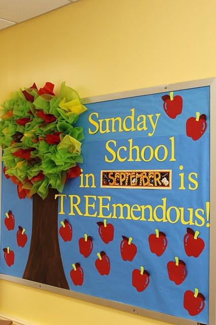 Sunday School bulletin board in fellowship hall?  Change out seasonally?