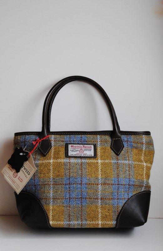Easdale Harris Tweed Handbag In Yellow And Grey Tartan With Leather Trim Fashion 2018 Pinterest