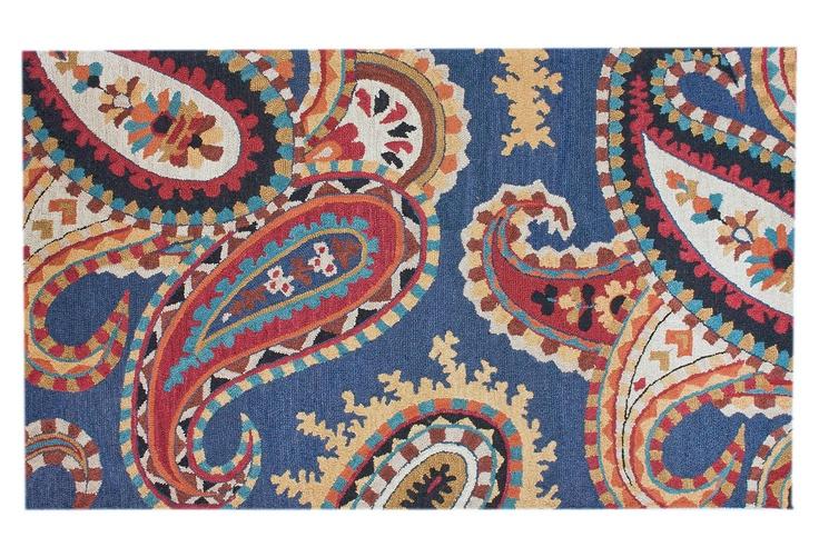 One Kings Lane Modern Nomad Whimsy Paisley Rug Blue Multi
