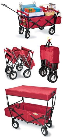 Red Folding Wagon, Folding Garden Wagon, Collapsible Wagon | Solutions We use this to take the kids and all of our stuff in to the races and usually the littlest uses it to nap! Amazing product