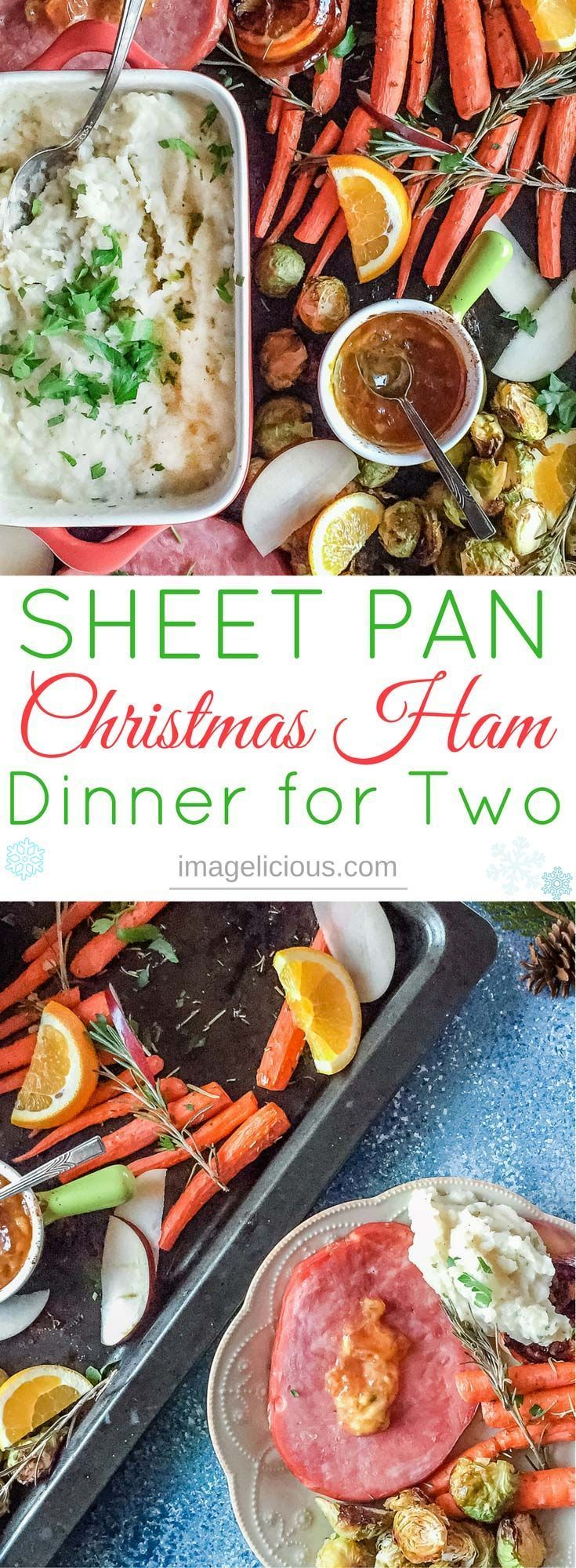Sheet Pan Christmas Ham Dinner For Two takes one hour. Ham steaks, apple sauce, carrots, Brussels sprouts, and mashed potatoes are made in the oven.