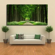 Высокое качество печати плакатов современный пейзаж зеленый avenue одной 40x80 см бытовой украшение художественные, что повесить изображение(China (Mainland))