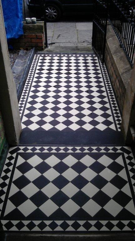 Featured here is the Cambridge, a Chessboard Victorian floor tile pattern